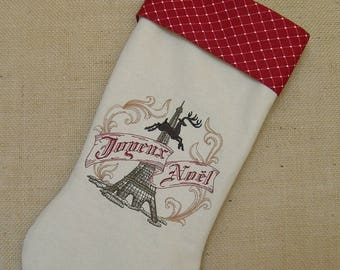 Christmas Stocking, Christmas In Paris Stocking, Joyeux Noel Stocking, Embroidered Linen Christmas Stocking, Christmas