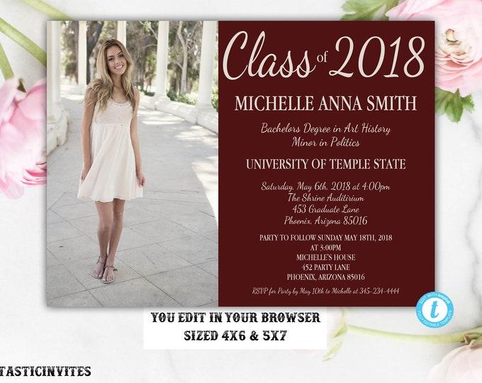 Graduation Invitation Template, Grad Invite, Graduation Template, Class of, High School Graduation Invitation, College Graduation, Editable