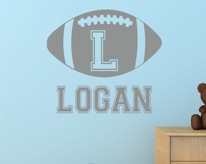 Football Kids Wall Art -Name Wall Decal -  Football Wall Decal - Personalized Boys Name Vinyl Wall Decal