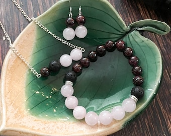 Divine Love Garnet and Rose Quartz Lava Diffuser Beads Silver Spacers Necklace Earring and Bracelet Set