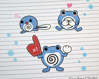 Poliwag/Polywhirl/Polywrath Stickers and Magnets