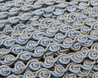 Baby Blue Vintage Delicate Spiral Scroll Gimp Sewing Trim