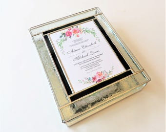 Stained Glass Keepsake Wedding Box 8x10x2 Wedding Invitation Bride Groom Engagement Save the Date Card Custom Made-to-Order