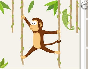 wall decal monkey and Chameleon