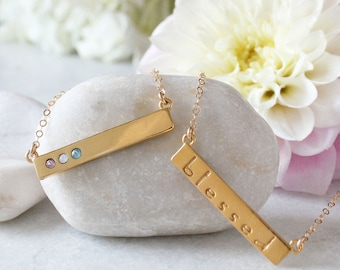 Gold Birthstone Bar Necklace stamped with Blessed. Custom Gold Bar Necklace with Birthstones. Personalized Mother's Necklace, Gift for Mom!