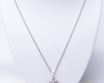Four Leaf Clover w/Crystal Rhinestones Pendant Necklace