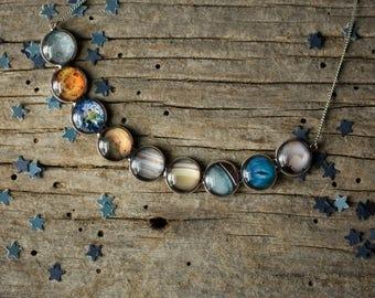 Sistema solar collar - todos los planetas, Celestial, declaración colgante - gran babero colorido collar - joyas de la galaxia, espacio