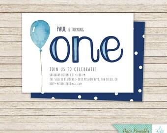 1st Birthday Invitation, First Birthday Invitation, Boy's Birthday Party Pack, Printable Party Pack, One Birthday, Balloon | PY4