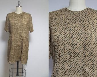 Vintage dress, VTG, safari dress, tiger dress, japanese dress, tropical dress, leopard dress, 90s mini dress, short dress, button down dress