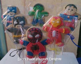 Super Hero Cookies - Super Hero Cookie Pops - 12 Cookie Pops