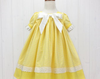 Yellow & White Toddler Dress - Toddler Easter Dress - Girls Easter Dress - Toddler Spring Dress - Toddler Summer Dress
