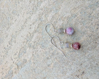 Labradorite and Tourmaline earrings on stainless steel hooks