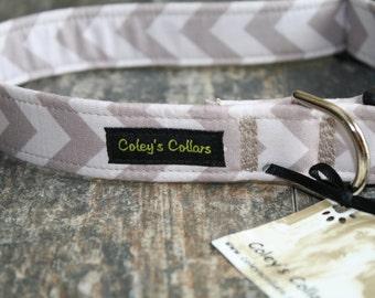 "Dog Collar, Dog Collars, Boy Dog Collar, Girl Dog Collar, Male Dog Collar, Trendy Dog Collar,  Chevron Dog Collar, ""The Chevron in Grey"""