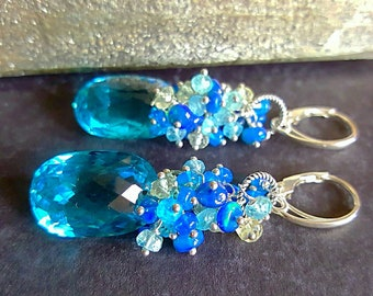 Swiss Blue Topaz with Blue Ethiopian Opal, Apatite, Aquamarine Gift For Her