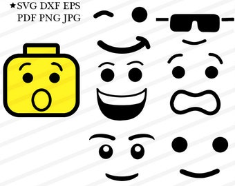 Lego Face svg Lego Man Head Cricut Files-Faces Svg clipart Lego Vector Cut Files For Silhouette-SVG Dxf Eps Png Files
