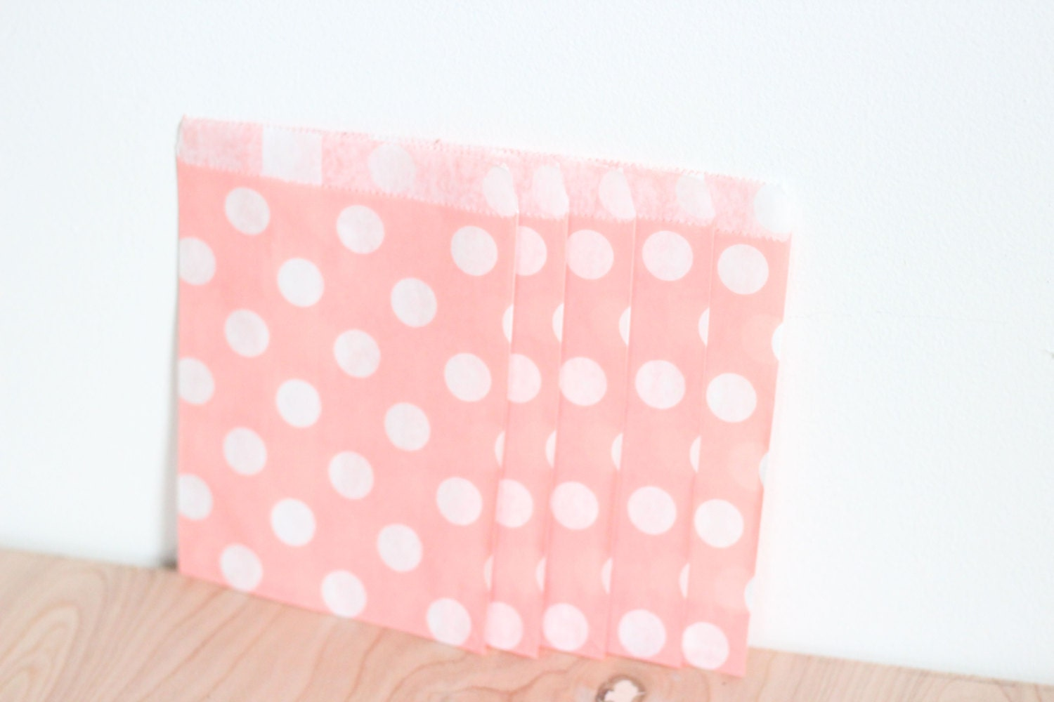 Paper Candy Bags 125 Count Blush Pink Polka Dot 5x7