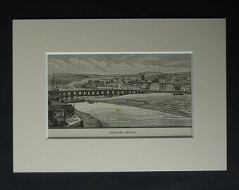 1880s Antique Bideford Long Bridge Print, River Torridge, Available Framed, Devon Art, East-the-Water, Medieval Architectural Illustration