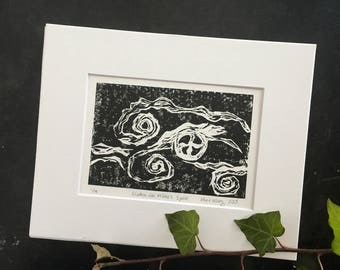 ORIGINAL fine art hand-pulled linocut print, dreamy black & white, perfect for a space that needs a high contrast original art print