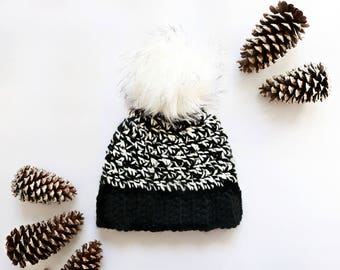 Chunky Hat | Black & White Stripes