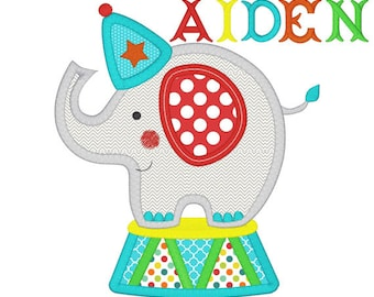 Personalized Circus Elephant Applique Shirt or Onesie Girl or Boy