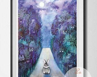 Little rabbit, bunny wall hanging, rabbit wall decor, art print unframed, animal art, road home, dark road, night forest, midnight walk