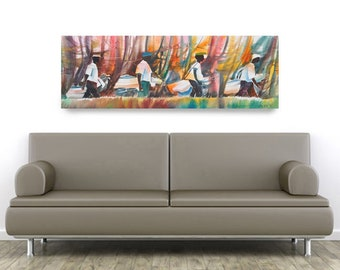 Golf Buddies Canvas Art, African American Art, Contemporary Art, Golf Art, Abstract Painting, Abstract Art, Gift for Dad, Gift for Him