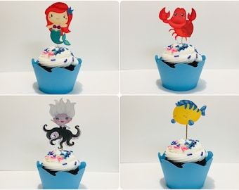Little Mermaid cupcake toppers and wrappers