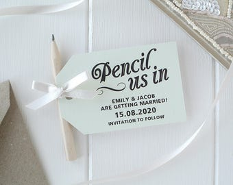 Pencil Us In! - Pastel Green Save The Date Cards