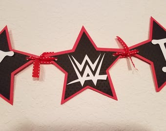 WWE Inspired Birthday Party, WWE Inspired Birthday Banner, Red Black and White Birthday Banner, Star Banner