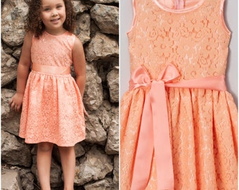 Peach wedding dress etsy dreaming kids peach lace dress junglespirit Choice Image