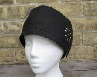black leather headband, motorcycle leather head wrap, head warmer, hair wrap