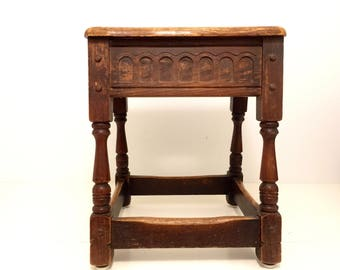 Gothic Abbey Stool.Stool.Abbey.Gothic.Spanish.Rustic Stool.Accent Seating.Accent Seat.Rustic.Carved Stool.Castle Decor.Medieval