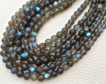 8-6mm size, Full 8 Inch Strand OF Rare Blue Flashy Labradorite Faceted Round BALLS  Beads.