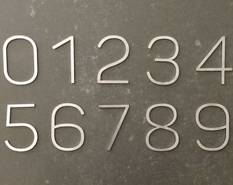 Stainless Steel Numbers   Large Modern Contemporary Font   House Numbers   90mm high   Brushed Finish