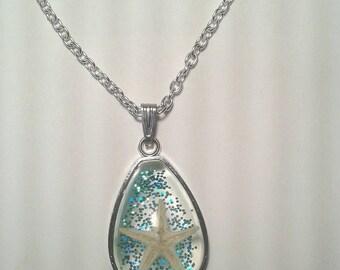 Mini starfish necklace, starfish and blue sparkle pendant, beach girl necklace, starfish necklace