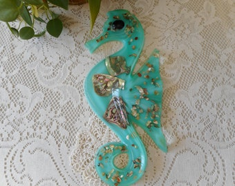 Large Vintage 1950's Resin Abalone Seahorse Turquoise Color Wall Hanging
