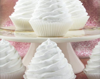 Fake Cupcakes White Classic Swirl Cupcakes Can Add Hole For Displaying Cupcake Toppers, Wedding Decor, Sets of 2, 4, 6, 8 & more Available