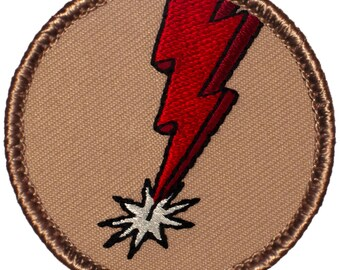 Red Lightning Bolt Patch - 2 Inch Diameter Embroidered Patch
