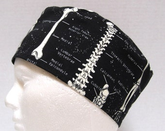 Mens Scrub Hat, Surgical Cap or Orthopedic Surgeon Cap Anatomical Skeleton print