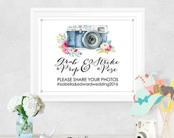 Photo Booth Wedding Poster - INSTANT DOWNLOAD - Partially Editable & Printable Floral Wedding Vintage Camera, Grab a Prop, Social Share Sign