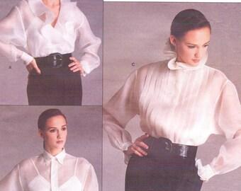 80s Ralph Lauren Womens Romantic Blouses & Camisole Vogue Sewing Pattern 2001 Size 12 Bust 34 FF Wrap Blouse Vogue American Designer