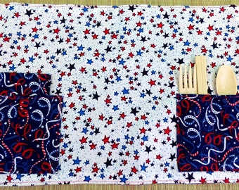 Stars and Streamers Zero Waste Children's Roll Up Placemat Set