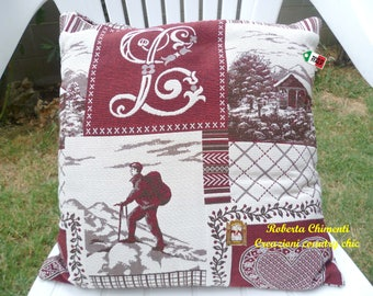 Gobelin pillow cover, tyrolean pillow cover, cottage style pillow, pillow with zipper, style mountain/chalet pillow, patchwork home decor
