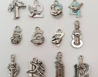 1 Set of 12 Advent Calendar Charms Antique Silver - XMS92