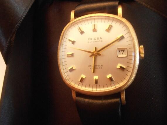 Vintage rare Swiss Priosa 14k 25 jewels automatic incabloc men's wristwatch