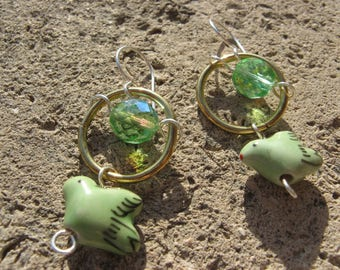 "Earrings ""Come"" plated silver brass Green"