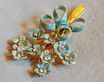 Vintage Brooch - Sandor Brooch, 1960s, Blue Enamel Flowers with Bow, Gold Tone Metal