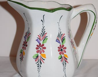 Neuwirth Flowering Vines Kitchen Pitcher Flowers Hand Painted Portugal