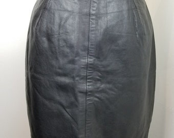 VTG MICHAEL HOBAN North Beach Leather Mini Skirt Black Small