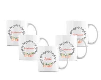 Bride and Bridesmaids Coffee Cup Set of 5